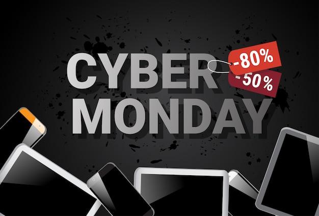 Cyber segunda-feira venda banner com tablet digital no fundo compras on-line desconto poster