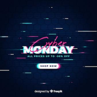 Cyber segunda-feira venda com efeito de falha