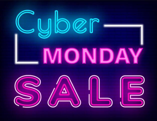 Cyber segunda-feira venda sinal de néon no fundo do tijolo