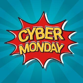 Cyber segunda-feira venda web banner pop art comic desconto cartaz