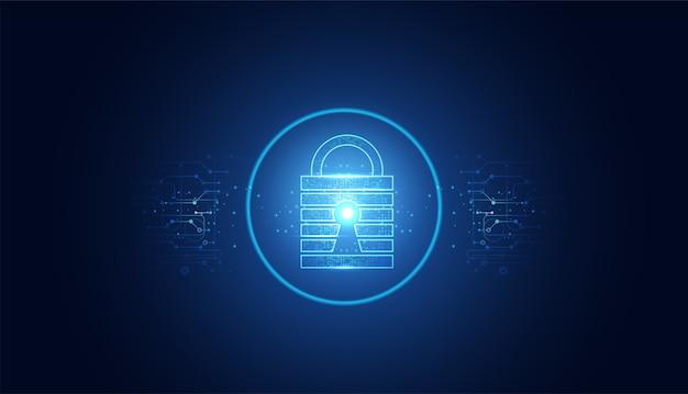 Cyber segurança abstrata com círculo de cadeado azul