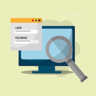 Cyber segurança computador pesquisa análise senha login