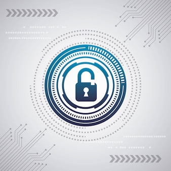 Cyber segurança digital fundo branco circuito internet cadeados proteção velocidade azul