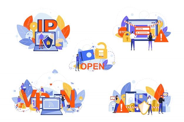 Cyber segurança, internet, vpn, ip, conceito de conjunto de proteção de dados