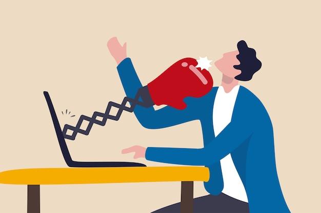 Cyberbullying, assédio on-line usando as mídias sociais para pessoas ameaçadas, conceito de violência por meio eletrônico, homem triste usando as redes sociais e sendo socado por luvas de boxe em um laptop de computador.