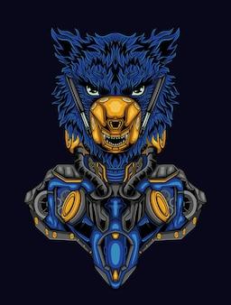 Cyberpunk robótico com cabeça de leão