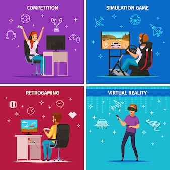Cybersport jogando personagens ícones quadrados conceito com jogos de esporte de simulação de computador competitivo isolados