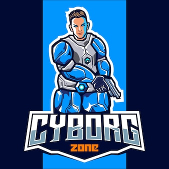 Cyborg com design de logotipo do mascote de arma esport