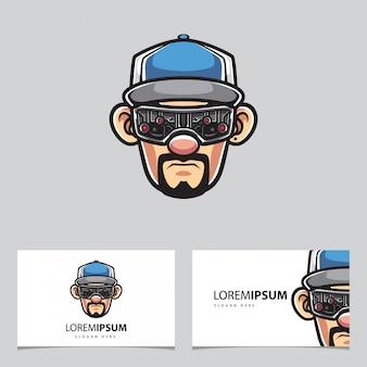 Cyborg com mascote de boné e cartões de visita