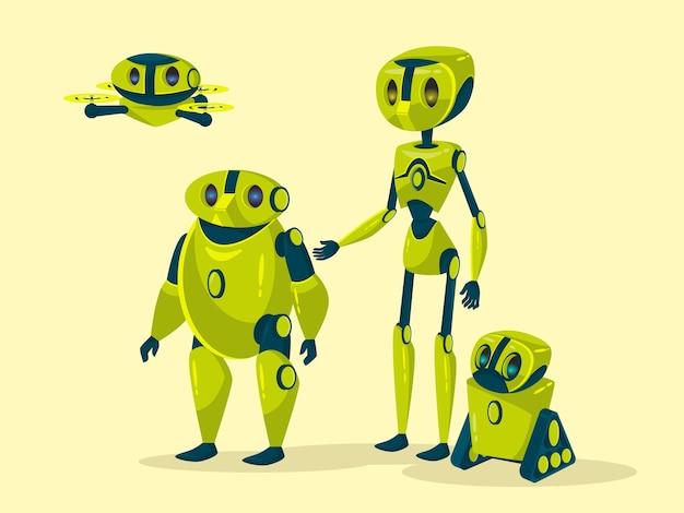 Cyborgs humanóides com o corpo, braços, pernas, voando avião drone