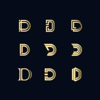 D conjunto de logotipo de texto de luxo