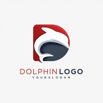 D dragão logotipo mamífero do mar