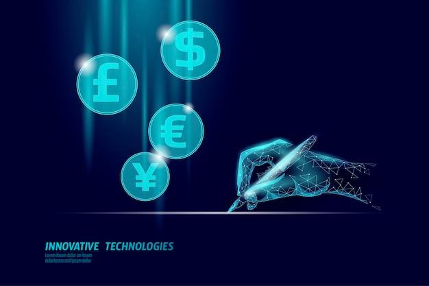 D empresário assinatura finanças acordo comercial contrato conceito sucesso rede da web baixo poli banner poligonal ilustração vetorial de conexão de internet internacional