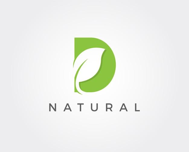 D green leaf letter design logo