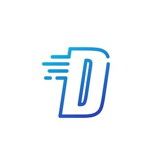D letra traço rápido rápido marca digital linha contorno logotipo vetor ícone ilustração