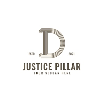 D letter logo justice and law firm pillar bold professional line art