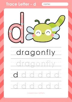 D libélula: planilha de letras de rastreamento az alfabeto - exercícios para crianças