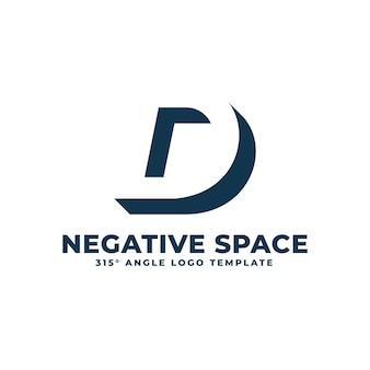 D logotipo moderno limpo espaço negativo ilustração geométrica de letras