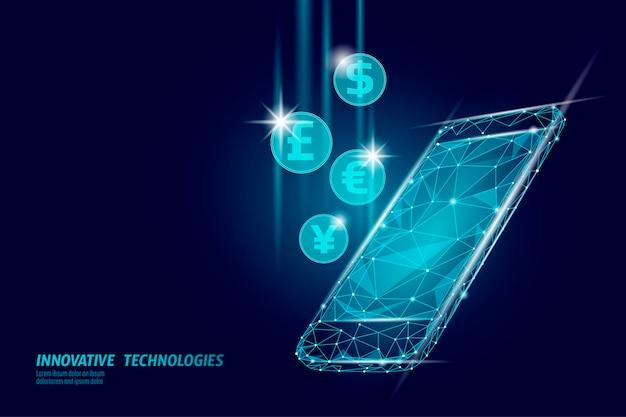 D smartphone mercado on-line financiamento negócio comércio eletrônico sucesso de comércio na web rede da web baixo poli banner poligonal ilustração vetorial de conexão de internet internacional