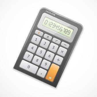 Da calculadora eletrônica preta isolada.
