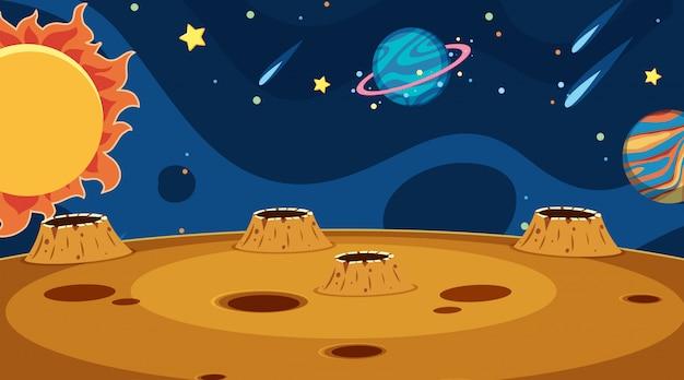 Da paisagem com planetas no espaço