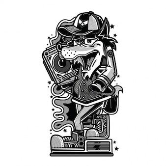 Dab thug ilustração a preto e branco