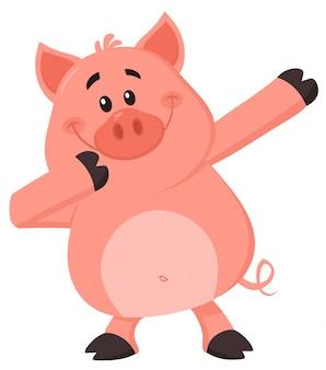 Dabbing personagem de desenho animado de porco