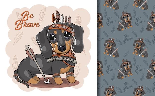 Dachshund bonito dos desenhos animados com fantasia de apache e conjunto de padrões