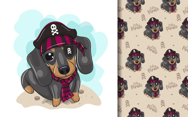 Dachshund bonito dos desenhos animados com fantasia de pirata e conjunto de padrões