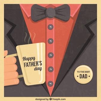 Dad elegante com uma chávena de café