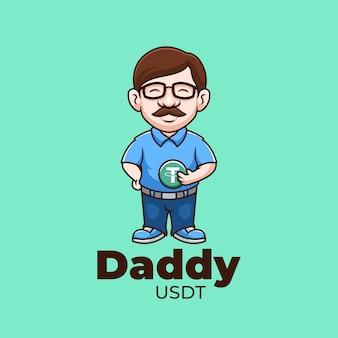 Daddy usdt crypto creative cartoon logo