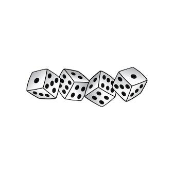 Dado branco risco tomador gamble - ilustração de arte vetorial