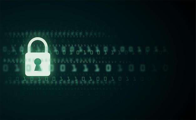 Dados cibernéticos de número de código binário de sinal de proteção digital
