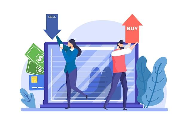 Dados da bolsa de valores de design plano