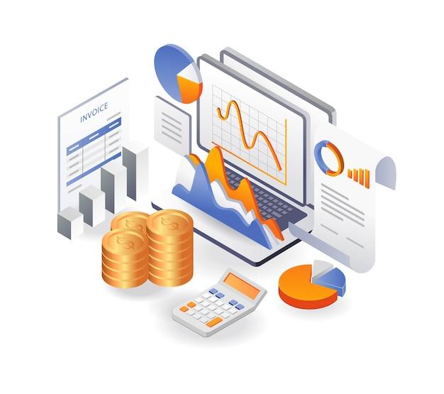 Dados de análise financeira sobre resultados de negócios de investimento e relatórios de fatura