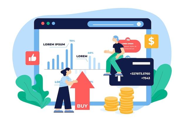 Dados de bolsa de ilustração de design plano