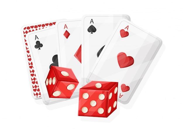 Dados de cassino vermelho rolando e jogando cartas