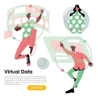 Dados de exibição virtual funcionário trabalhando