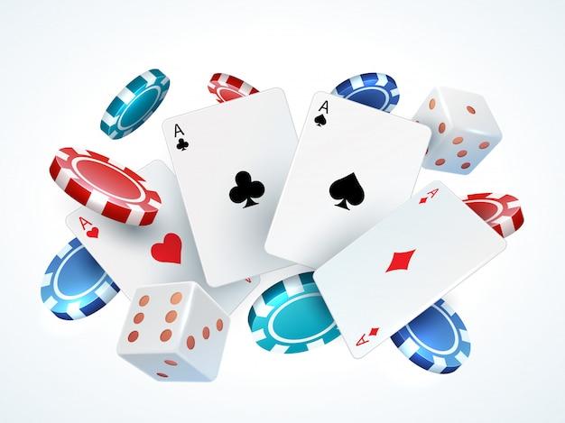Dados de fichas de cartas de jogar. pôquer de cassino que joga cartões de queda 3d realistas e microplaquetas isolados no branco. cartas de poker