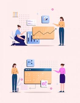 Dados de ilustração plana analíticos pessoas falando conjunto de pose humana