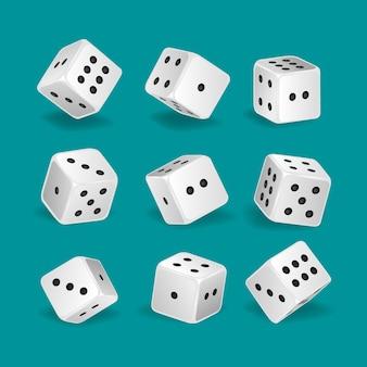 Dados de jogo brancos realistas em posições diferentes