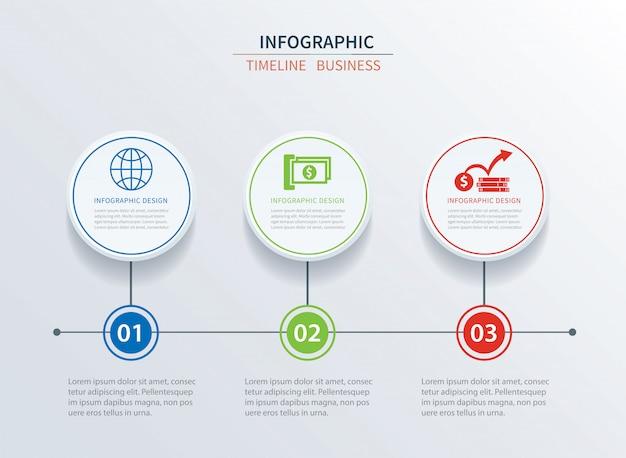 Dados de modelo três de infográficos de negócios com o círculo.