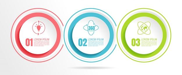 Dados de negócios infográfico com 3 etapas