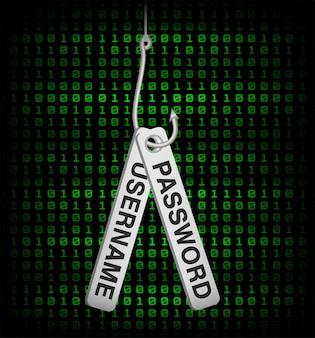 Dados de nome de usuário e senha do gancho de pesca phishing
