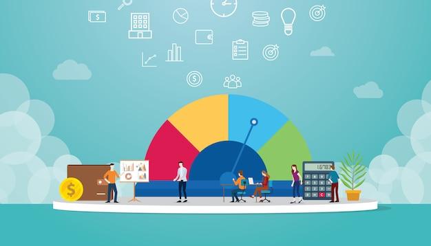 Dados de perfil com a equipe analisam dados financeiros