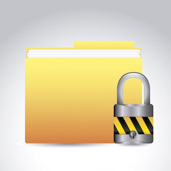 Dados de segurança sobre ilustração vetorial de fundo cinza