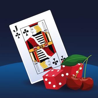 Dados do cartão de pôquer e cassino de jogo de apostas de cereja