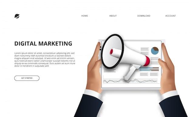 Dados do conceito de marketing digital com ilustração de mão segurando a tablet com carta de dados e megafone para publicidade de promoção.