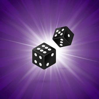 Dados em fundo retrô roxo. conceito de modelo de jogo de casino de dois dados. o vencedor aposta no casino. ilustração