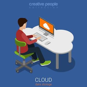 Dados em nuvem, armazenamento pessoal, computação plana d isométrica web infográficos conceito